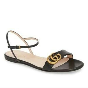 Gucci Marmont Quarter Strap Flat Sandal size 37.5